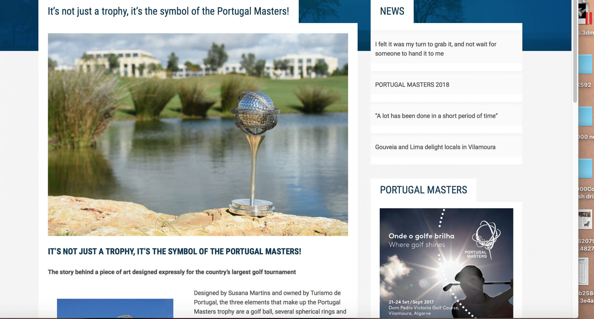 Portugal Masters Trophy - the story behind the piece of Art Designed by Susana Martins
